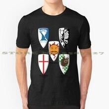 Boucliers noir noir blanc t-shirt pour hommes femmes Monty Python Tv film saint graal boucliers chevalier Sir Bedevere sage Brave roi