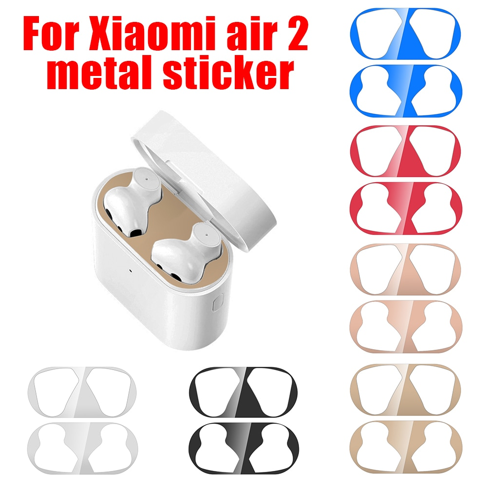 Polvo de Metal guardia pegatina protectora para Xiaomi 2 auriculares piel Shell Film Protector para Xiaomi Airdots Pro 2
