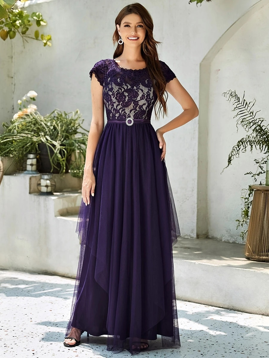 Sleeveless Women's Wholesale Evening Dress with Round Neck