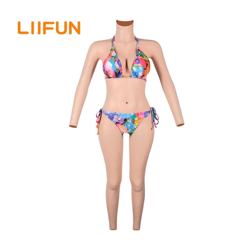 Liifun plenamente de mama de silicona formas mono con brazos realista Braga para Vagina falsa traje D copa para transgénero travestido