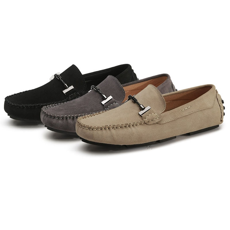 Loafers For Men Loffer Shoes Casual Mens Loafer Moccasins Suede Leather Footwear Slip-On Mens Driving Shoes Mocassin Homme Black