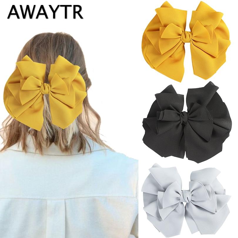 AWAYTR Fashion Solid Color Hairgrips Big Large Bow Hairpin Women Girls Chiffon Trendy Hair Clip Cute Barrette Hair Accessories