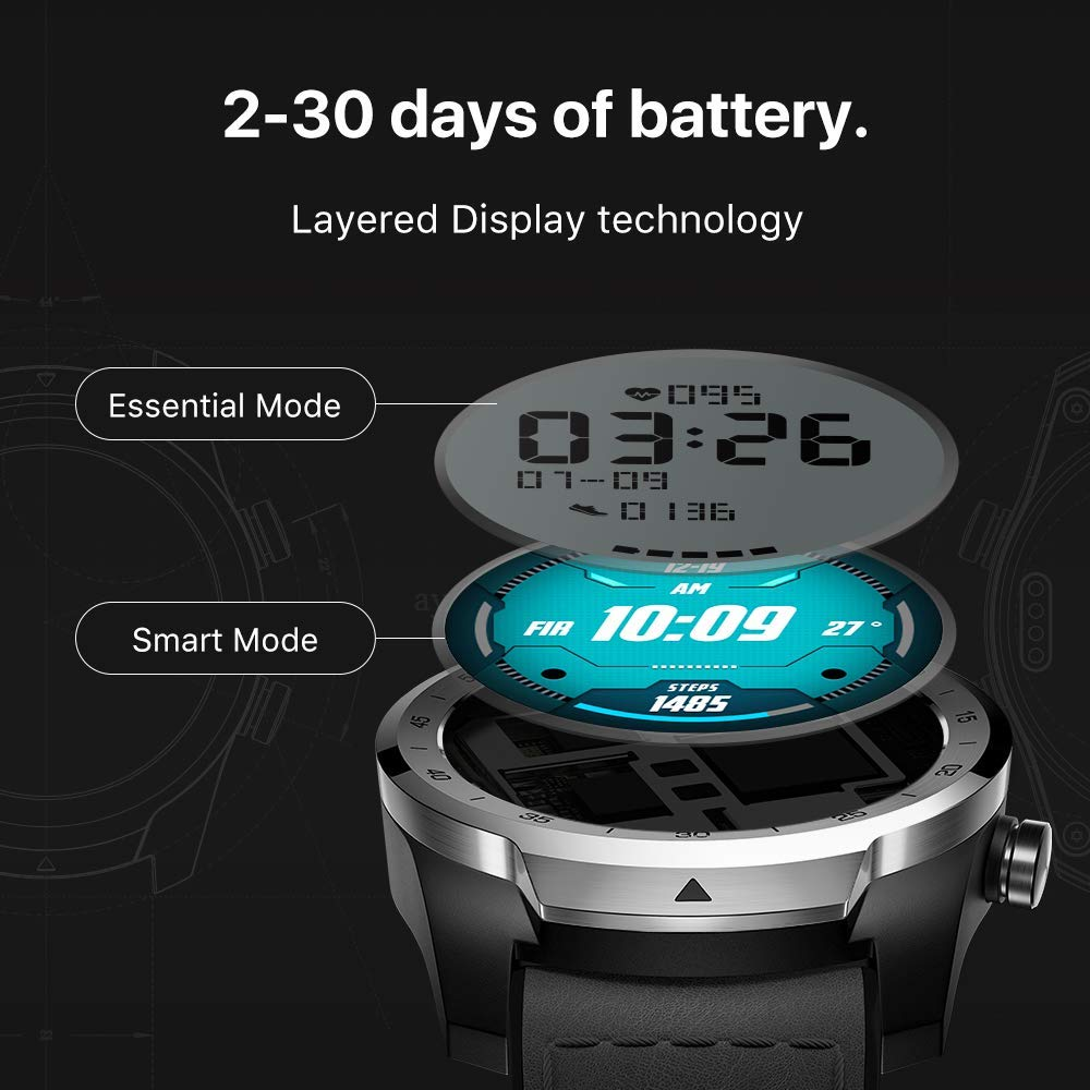 Get TicWatch Pro Smart Watch Men's Watch Wear OS by Google for iOS& Android NFC Payment Built in GPS Waterproof Bluetooth Smartwatch