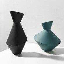 Style nordique décoration de la maison Vase créatif artisanat abstrait salon doux géométrique fleur en céramique