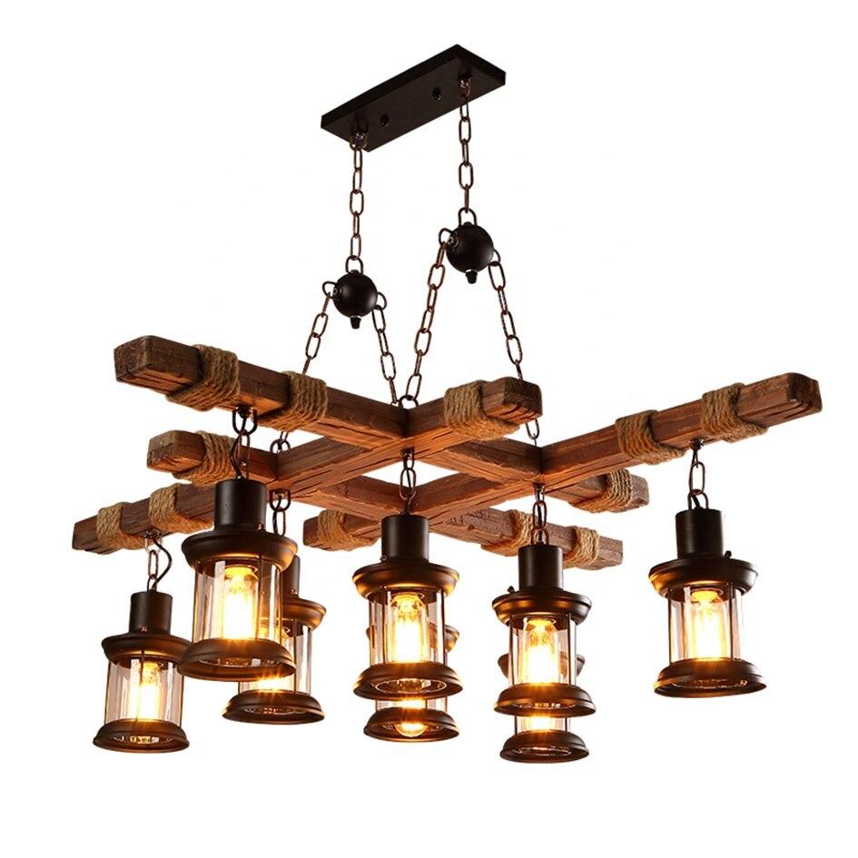 8 أضواء الخشب خمر الصناعية الرجعية E26/27 مقهى مصباح إضاءة البار تركيبات Loft المنزل السقف الإضاءة الثريات