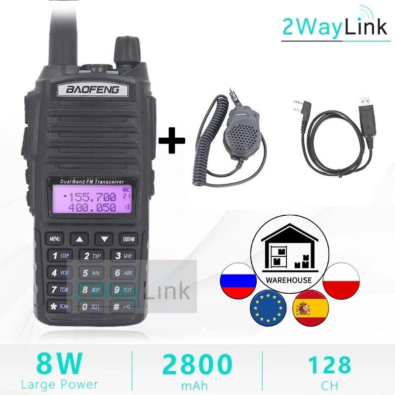 Dual PTT Original BaoFeng 8W Walkie Talkie 10 KM Dual Band 2 Weg Radio UV-82 UHF VHF Baofeng UV 82 Ham Radio Heißer Walky Talky