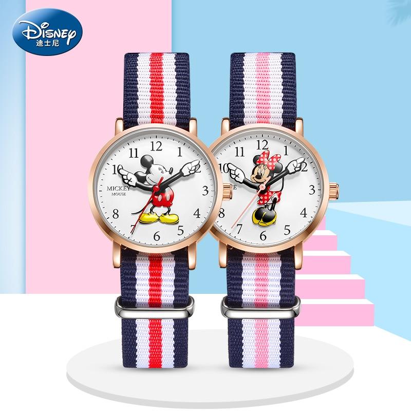 Disney marca superior original mickey minne mouse criança meninos meninas relógios de pulso de quartzo lona à prova dwaterproof água crianças estudante presente relógios