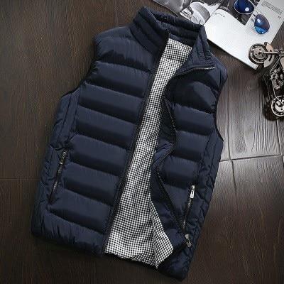 2020 Autumn Winter New Men Cotton Vest Jacket Solid Color Sleeveless Down Waistcoat Jacket Male Casu