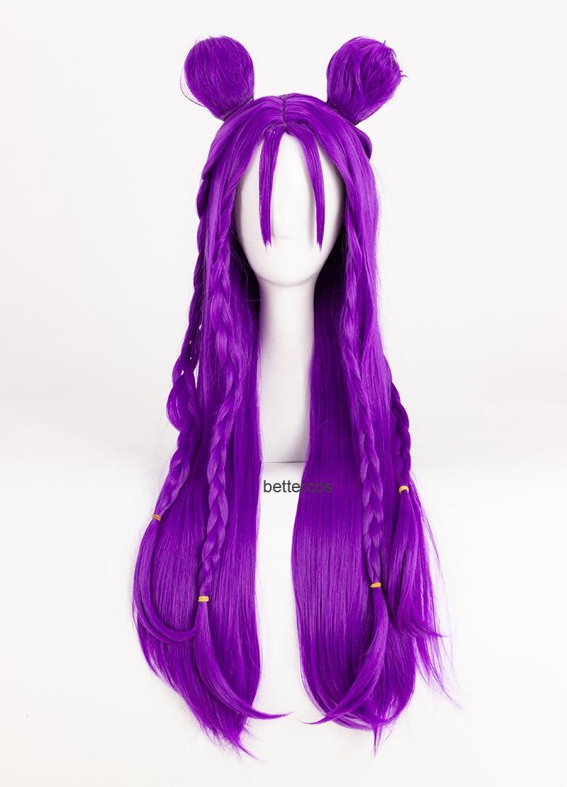 Peluca LOL KDA Kaisa Cosplay hija del vacío Kaisa 80cm de largo púrpura recta resistente al calor Peluca de pelo sintético + tapa de la peluca