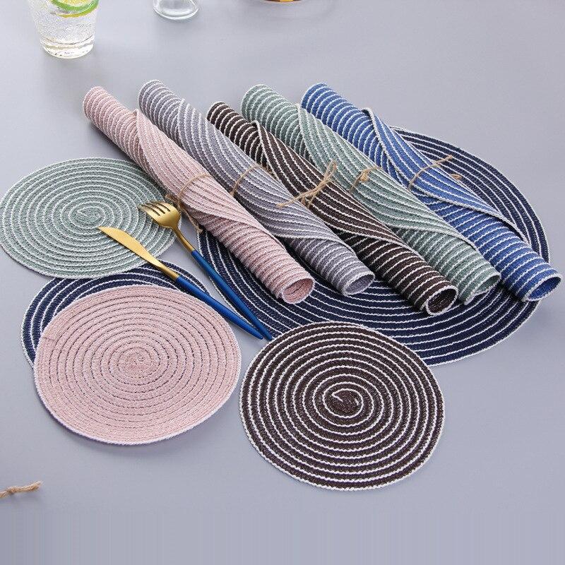 Fio de algodão ramie redondo placemat nenhum deslizamento mesa jantar tapete disco tigela almofadas bebidas coasters pote titular almofada de isolamento da cozinha decoração