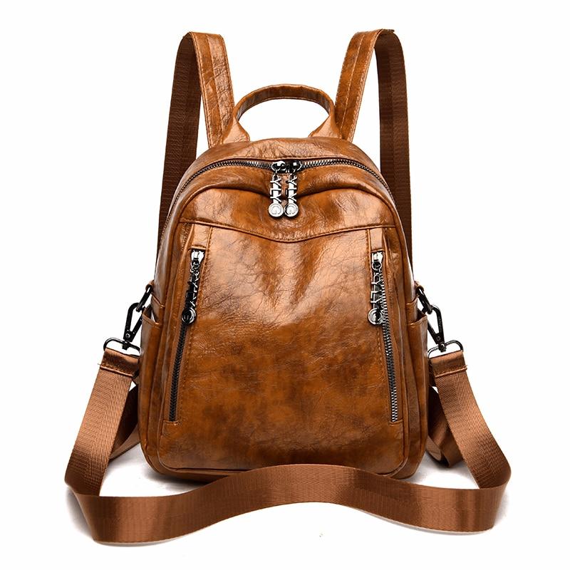 Femmes en cuir sacs à dos de haute qualité 2020 dames sac à dos Vintage Preppy Style solide sacs à dos femme nouveau sacs décole pour les filles
