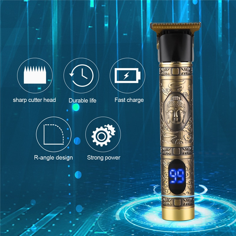 USB Rechargeable Hair Trimmer LCD Display Clipper Hair Cutting T-Outliner Barber Cordless Shaver Trimmer Beard Shaver Haircut enlarge