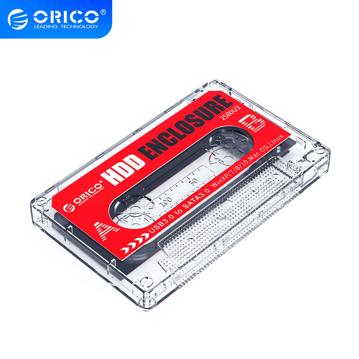 ORICO Transparent External Hard Drive Box USB3.0 SATA3.0 5Gbps 4TB HDD Enclosure Support UASP DIY Stickers Cassette Tape Design