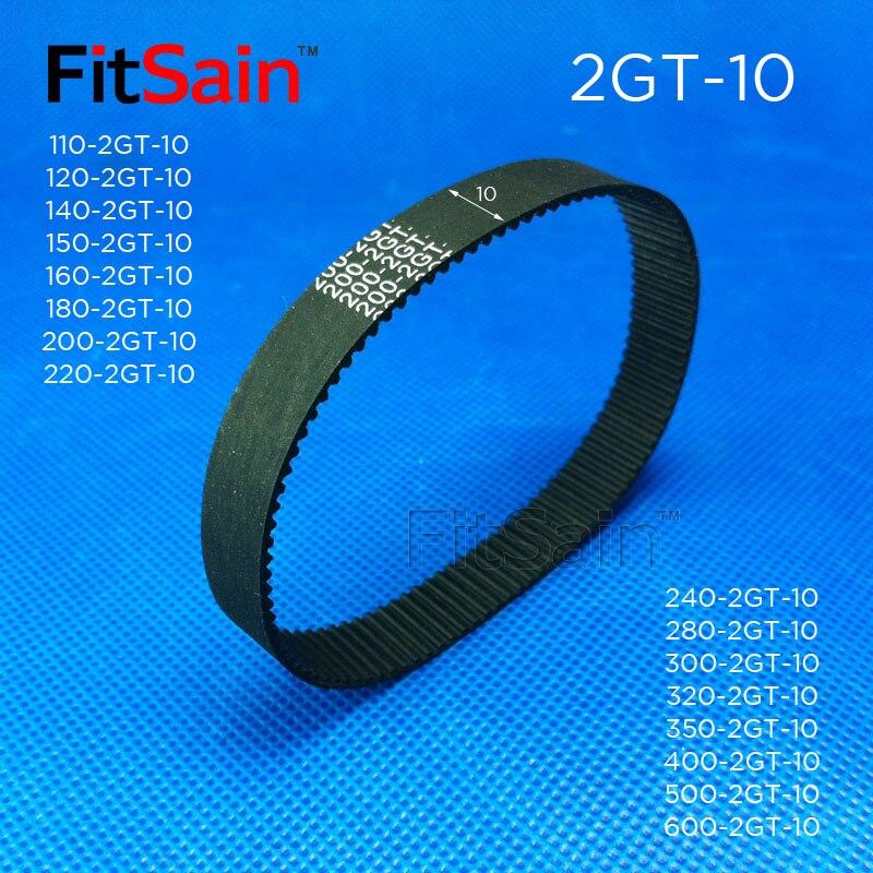 FitSain -- 2GT 10mm ancho correa dentada de goma GT2 circunferencia de la rueda sincrónica anillo de 110-600mm