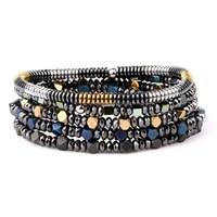 classic design small hematite beads men jewelry elastic bracelet set