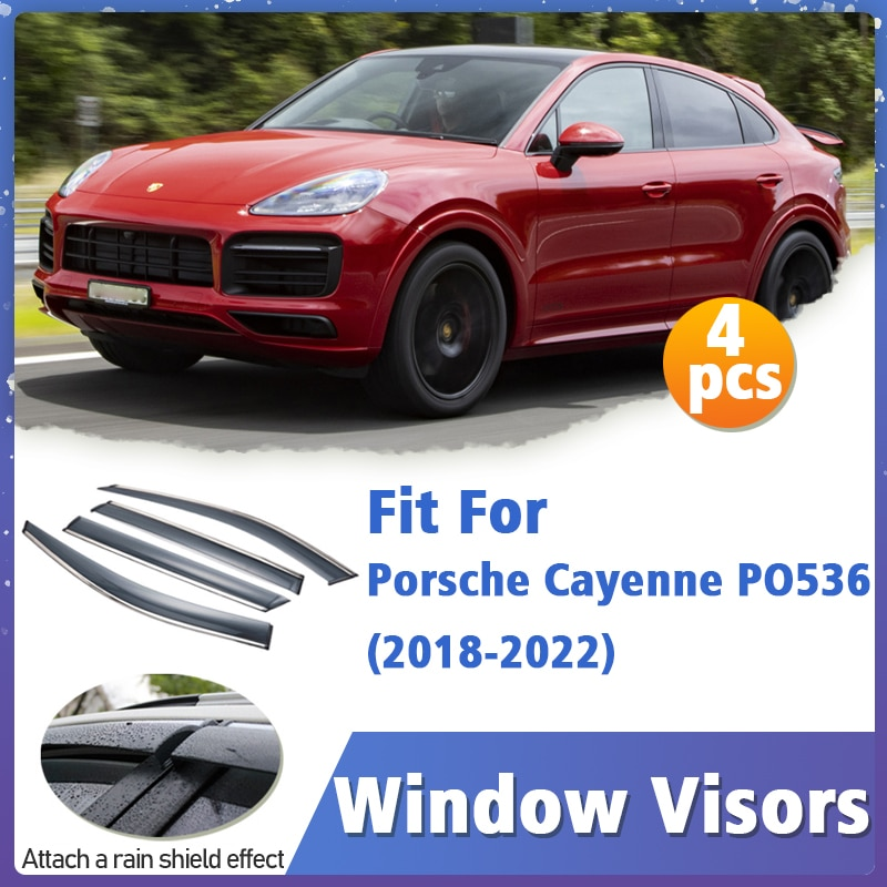 Window Visors Guard for Porsche Cayenne PO536 2018-2022 Cover Trim Awnings Shelters Protection Guard Deflector Rain Rhield 4pcs