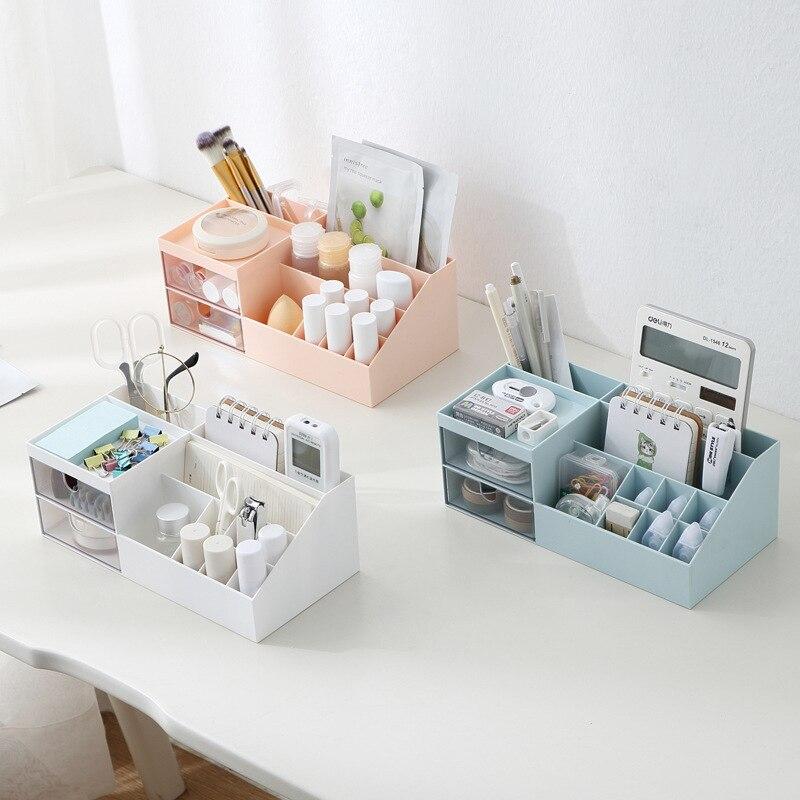 Многофункциональная коробка для хранения косметики, настольная перегородка с ящиком, пластиковая коробка для хранения, ювелирные изделия, ...