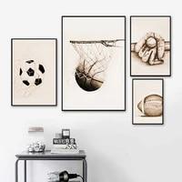 american retro football basketball printing poster baseball wall art canvas painting nordic poster for livingroom home decor