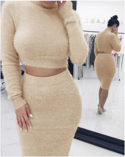 2021 new European and American fashion sexy solid color long sleeve sweater two piece set enlarge