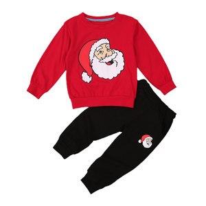 Toddler Kids Baby Boys Xmas Clothes Sets Long Sleeve Sweatshirt Tops Leggings Pants Christmas Suit Cartoon Santa Print Pullover