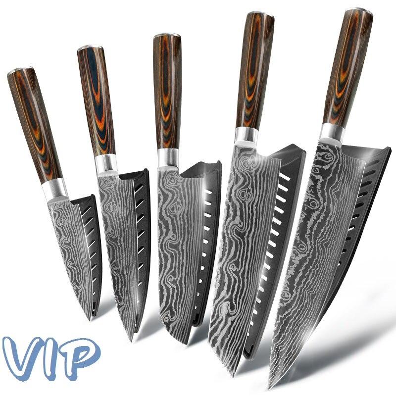 Cuchillo de cocina cuchillos de Chef japonés 7CR17 440C acero inoxidable de alto carbono lijado diseño realizado con láser
