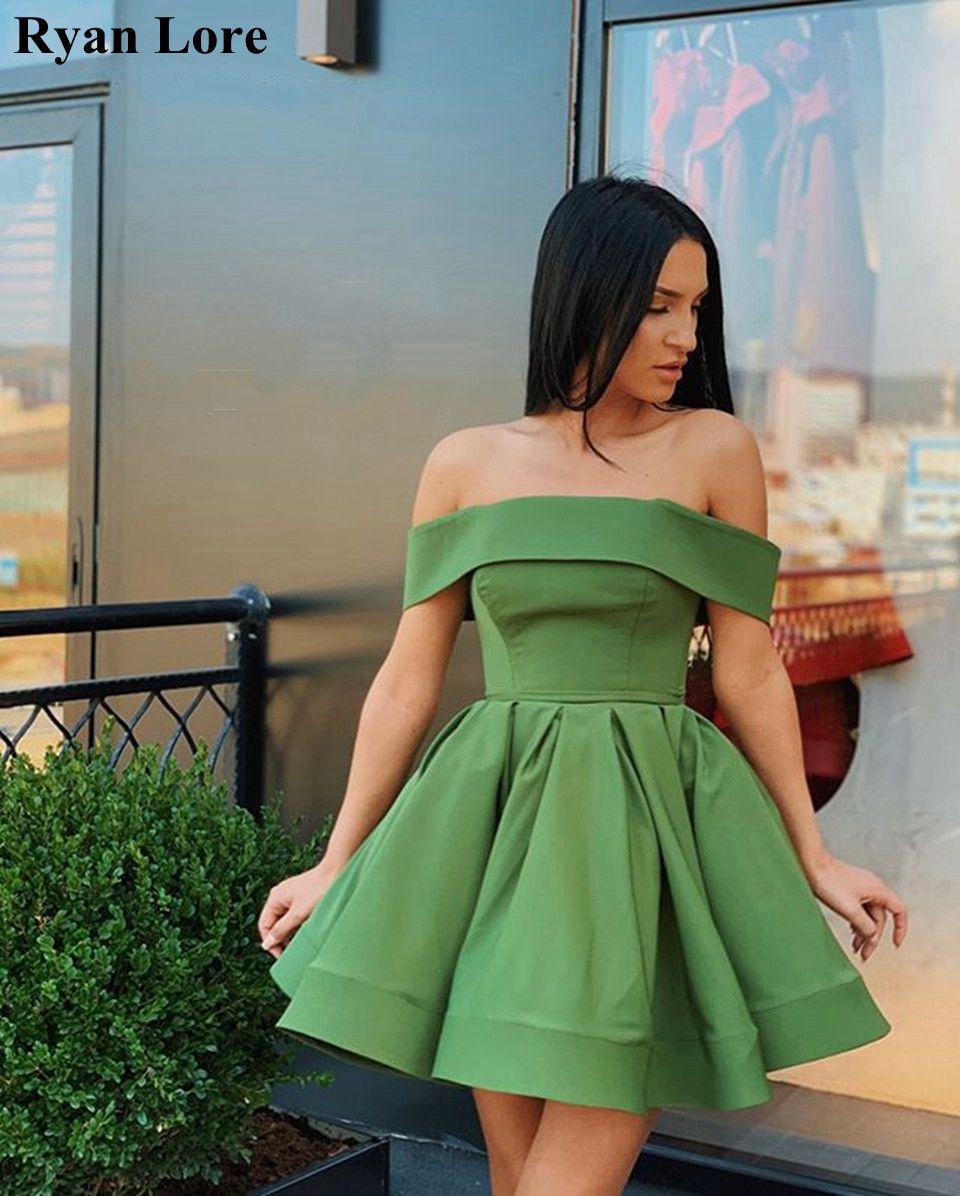 Verde vestidos de cocktail 2020 fora do ombro curto vestido de baile cetim mini vestido de baile de gala vestidos de formatura feminino