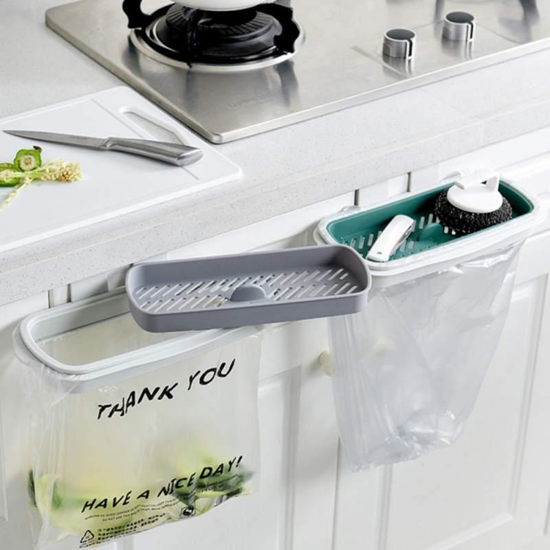 Armario de cocina colgante soporte trasero para puerta de armario estante de basura estilo almacenamiento basura bolsas papelera N06