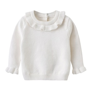 Toddler Girl Sweater Fashion Ruffled Knit Sweater for Girls Solid Color Autumn Winter Kids Clothing Newborn Infant Baby Sweaters