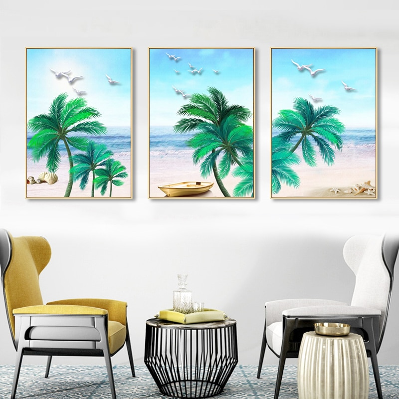 Modern Abstract Blue Sea Sky Palm Tree Beach Seagull Wall Painting Beautiful Sea View Home Decoration Canvas Print Poster  - buy with discount