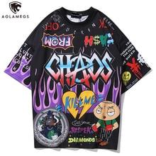 Aolamegs t-shirt hommes Graffiti dessin animé imprimé hommes t-shirts à manches courtes t-shirt mode haute rue t-shirts été Streetwear