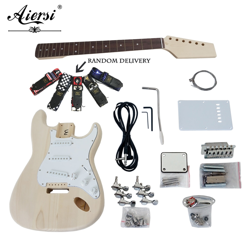 Aiersi personalizado de madeira maciça diy strat estilo kit guitarra elétrica kits conjuntos com todas as peças modelo EK-001