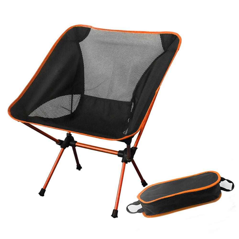 En venta naranja portátil Luna silla pesca Camping plegable extensible senderismo asiento luz exterior silla hogar muebles