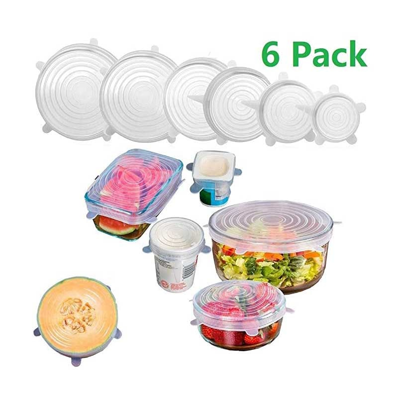 AliExpress - 6pcs silicone stretch lid reusable airtight food packaging paper lid keeps fresh airtight lid cooking cookware tools