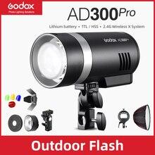 Godox AD300Pro 야외 플래시 라이트 300Ws TTL 2.4G 1/8000 HSS 캐논 니콘 소니 후지 올림푸스 Pentax 스에 대한 2600mAh 배터리