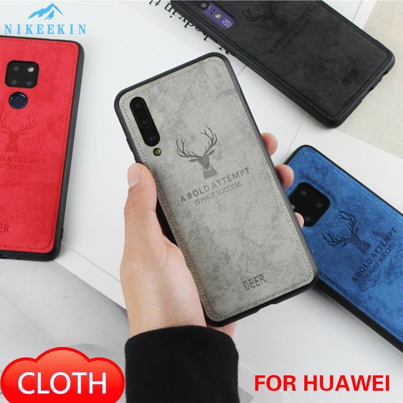 Cloth Deer Case for Huawei P40 Lite P Smart 2019 Mate 30 Pro Y6 Y7 Y9S Fabric Cover for Honor 9X 20S MAR-LX1H 10 Lite Nova 5T 7i
