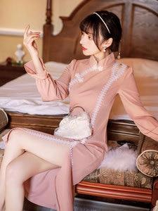 Summer New Women's Chinese Style Retro Half High Collar Lace Stitching Cheongsam Long Dress Sweet Girl Temperament Slim Dress