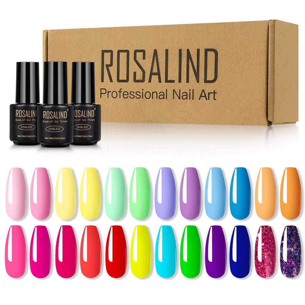 Набор гель-лаков для ногтей ROSALIND, 24 шт., гибридные гель-лаки для светодиодной УФ-лампы, полуперманентное покрытие для дизайна ногтей, лаки дл...