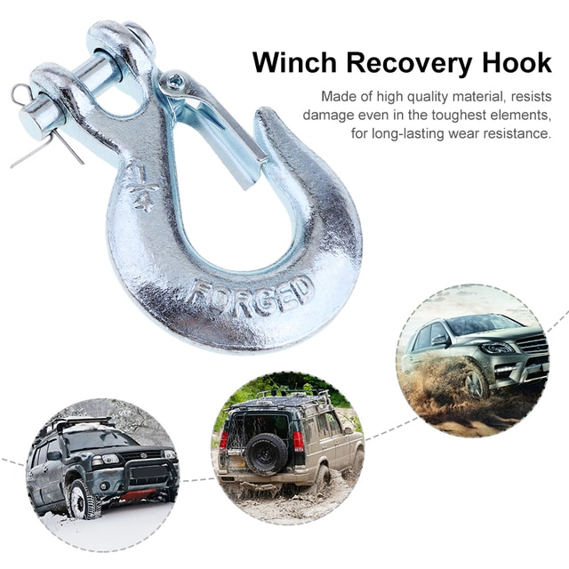 1 Pcs 1/4'' Winch Cable Hook Clevis Rigging Tow Trailer & Latch For Car/ATV/Trailer/Boat/Truck/RV Spring-Loaded Car Accessories