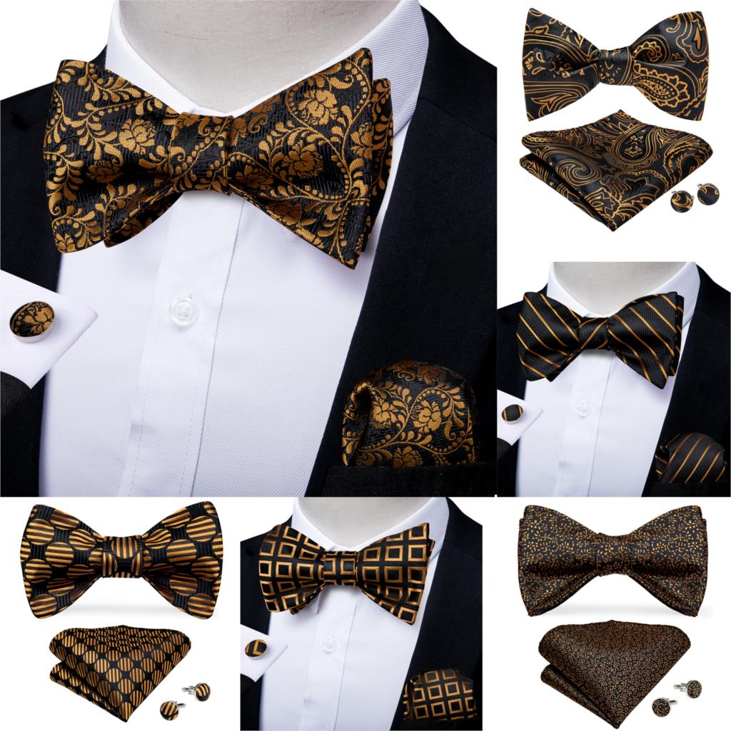 Men Fashion Gold Black Bowtie Self Tie Bow Tie Men Formal Dress Wedding Bowtie Set Pocket Square Cufflinks Men Gift DiBanGu недорого