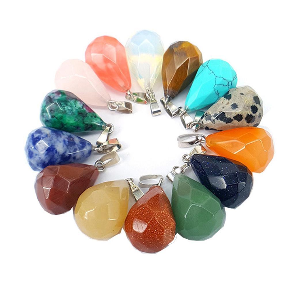 Naturalne łzy faceted kwarcowy naszyjnik kryształ kropla wody Healing Chakra Reiki Charms luzem do tworzenia biżuterii różne