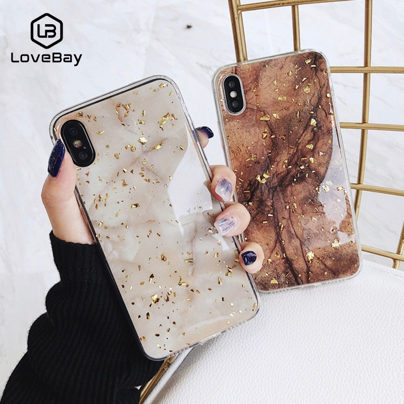Lovebay Telefon Fall Für iPhone 11 6 6s 7 8 Plus X XR XS Max Luxus Bling Gold Folie marmor Glitter Weiche TPU Für iPhone 11 Pro Max
