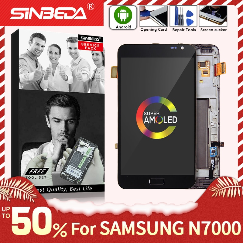 Супер AMOLED для SAMSUNG Galaxy Note N7000 ЖК-дисплей сенсорный экран с рамкой дигитайзер для SAMSUNG Note i9220 LCD Note 1 N7000