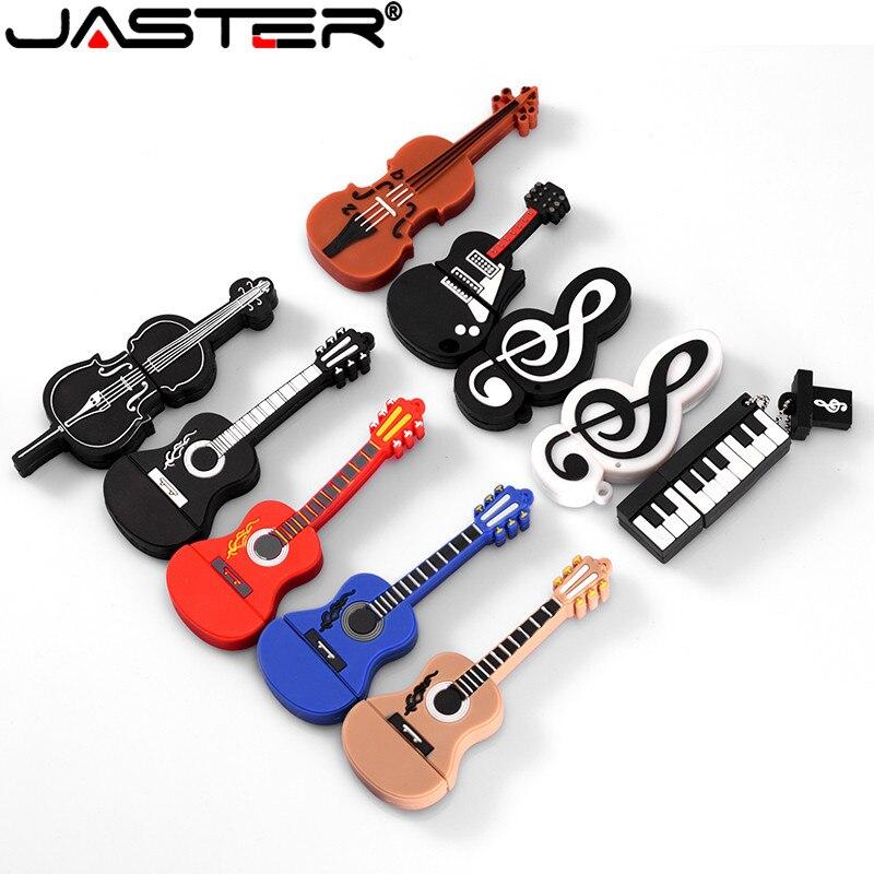 JASTER-unidad Flash usb de 64GB, instrumento Musical, guitarra, violín, nota, 4GB, 8GB,...