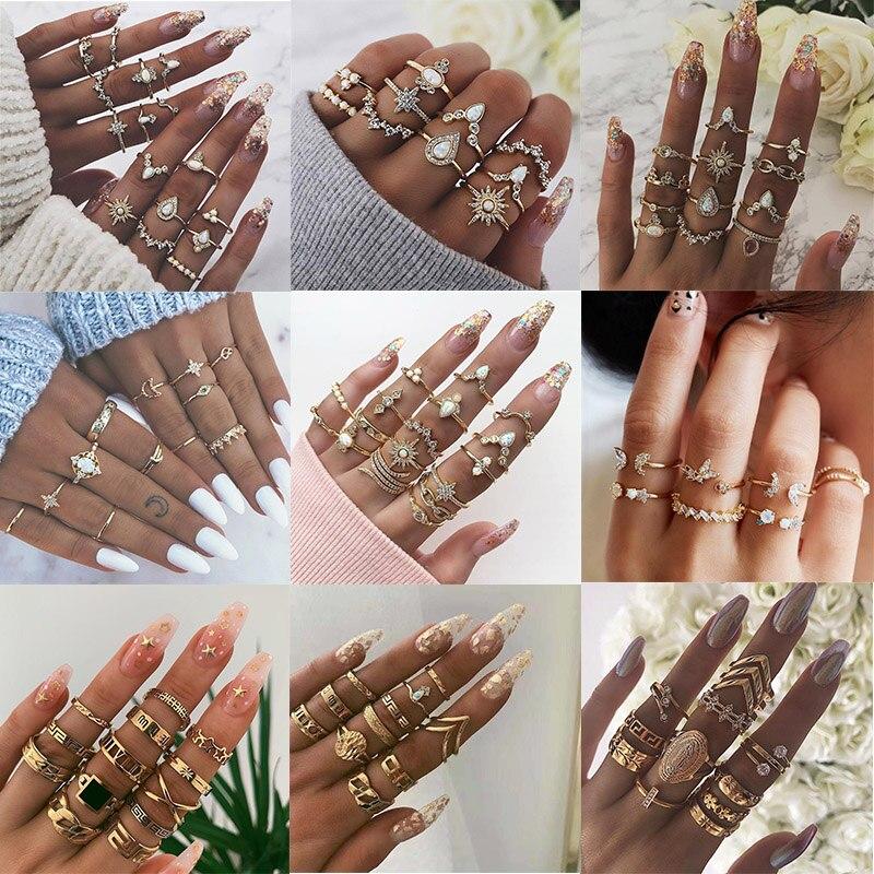 KSRA 2020 Nova Ins Knuckle Anéis Set Para As Mulheres BOHO Boemia Estrela Crescente Geométrica de Cristal Dedo Anéis de Ouro de Jóias Vintage
