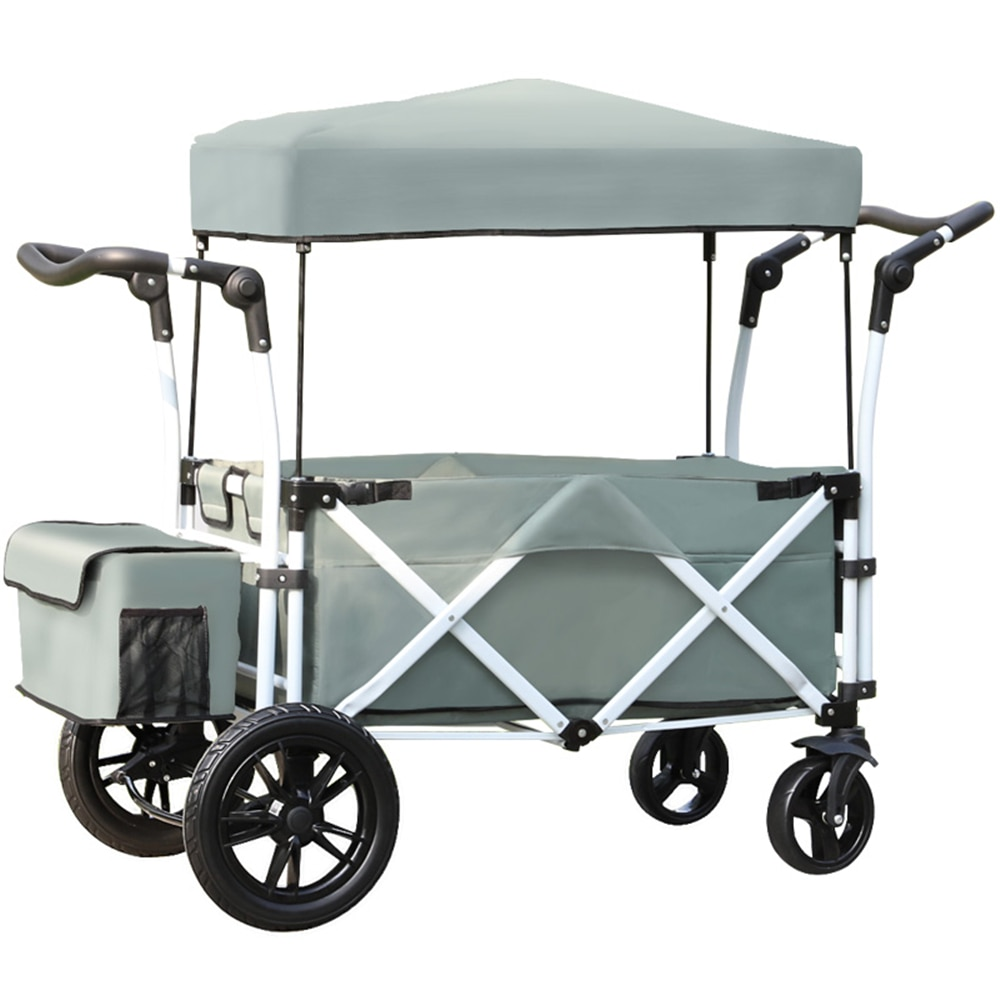 Folding Collapsible Beach Cart Removable Canopy & Universal Wide Wheels Utility Outdoor Camping Wagon  Adjustable Handle