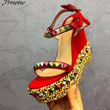 Platform Sandals Women Designer Open Toe Rivet Mixed Color Wedges Shoes For Women Runway High Heels
