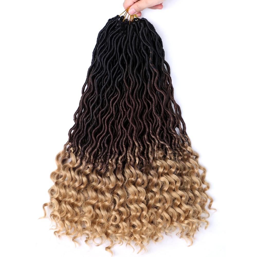 Natifah Synthetic Crochet Braiding Hair Extensions 18 Inches 70g Faux Locs Curly Ends Wholesale Ombre Pink Color Braid