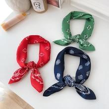 Luna & dauphin soie carré foulards 50x50cm blanc cajou fleurs Bandanas femmes Vintage Paisley imprimé bandeaux écharpe bracelet