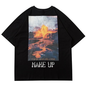 LACIBLE Men Hip Hop Streetwear Oversize Cotton T Shirt Letter Volcanic Print Tshirt  Harajuku Loose Short Sleeve Tee Shirt Male
