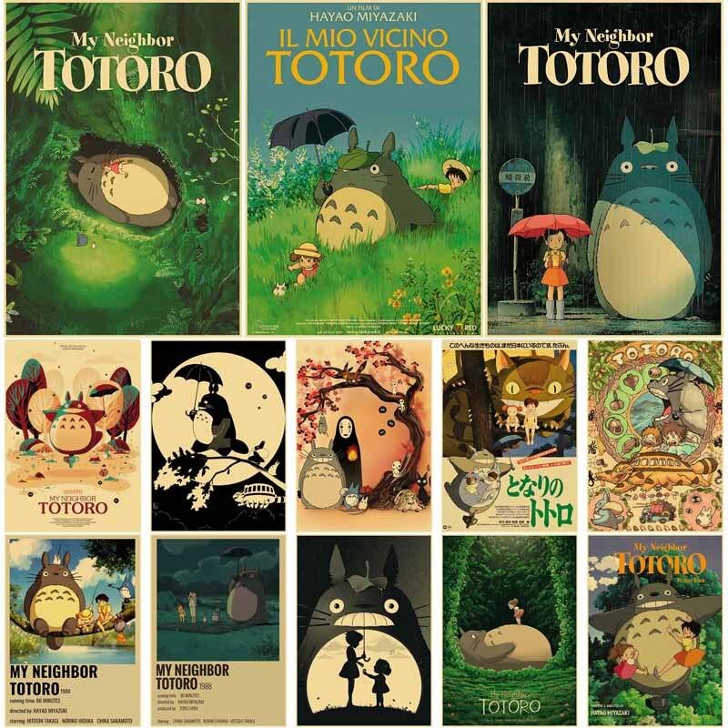 Vintage Hayao Miyazaki Anime Movie Posters My Neighbor Totoro Retro Kraft Paper Poster Home Room Bar Decoration Wall Stickers недорого